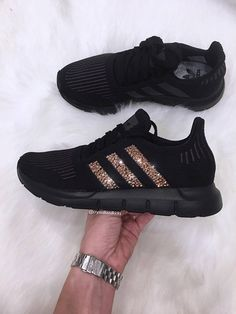 best sneakers 80c3a 744ea Adidas Swift Run Made with SWAROVSKI® Xirius Rose Crystals - Triple Black  Black Adidas Shoes