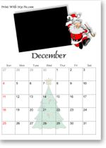 Free Printable Christmas Calendars, customizable calendars to print with images of Santa Claus, reindeer, snowmen, elves, ornaments