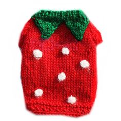 Hand knitted Dog Strawberry Sweater