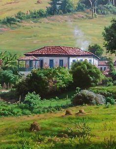 Minas Gerais e sua ruralidade Paintings I Love, Seascape Paintings, Beautiful Paintings, Landscape Paintings, Image Nature, House Landscape, Farm Life, Country Life, Art Pictures