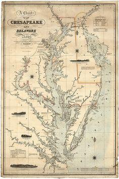 Nautical map of Chesapeake And Delaware Bays  1862.
