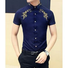 $16.47 Fashion Style Turn-down Collar Embroidery Men's Short Sleeves Cotton Shirt