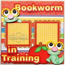Scrapbooking- Girl BLJ Graves Studio: Bookworm In Training School Scrapbook Page Baby Girl Scrapbook, Baby Scrapbook Pages, Scrapbook Titles, Kids Scrapbook, Scrapbook Sketches, Scrapbook Supplies, Scrapbook Cards, Scrapbook Frames, Birthday Scrapbook