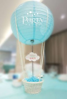 Party Print's Baby Shower / Hot Air Balloon & Aviator - Photo Gallery at Catch My Party Baby Shower Cakes, Baby Shower Parties, Baby Shower Themes, Baby Boy Shower, Shower Party, Hot Air Balloon Centerpieces, Baby Shower Centerpieces, Balloon Decorations, Welcome To The Party