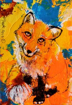 ACEO Original New Card Artwork Painting Small Art Red Fox 2013 by Sue Flask | eBay