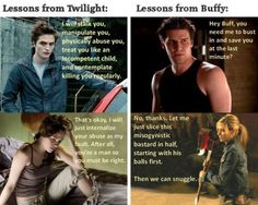 Twilight Vs Buffy Meme Lol Humor Funny Pictures Photos.  PS, I hate Twilight and hate Patterson and Stewart even more.