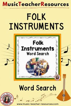 Folk Instruments Word Search is a music game for your students and also an excellent addition to a World Music Unit. ♫ ♫ #musiceducation #mtr Child Teaching, Teaching Music, Music Worksheets, Worksheets For Kids, Music Activities, Music Games, Music Word Search, Music Classroom, Classroom Resources