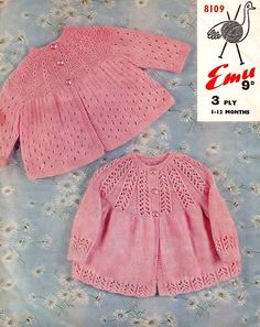 """Two yoked matinee coats (Emu 8109), sizes 6 / 12 months. The faux cable or eyelet cable on the top one is called """"cablette"""" in this delightful vintage pattern. Although at this time it was customary to work bottom-up, note these styles are easy to replicate top-down. 3-ply (Fingering) yarn, 2.75-3.00mm (old UK 12-11) needles."""