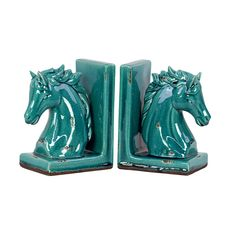 Urban Trends Collection Stoneware Horse Head on Base Bookend Assortment of Two Distressed Gloss Finish Turquoise Blue Horse, My Horse, Horse Head, Home Decor Accessories, Decorative Accessories, Pantone, Horse Silhouette, Urban Trends, Illustrations