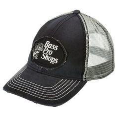 003950e541f31 Bass Pro Shops Frayed Patch Mesh Back Cap - Black Grey