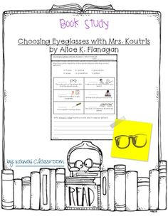 This resource was created to go along with the book Choosing Eyeglasses with Mrs. Koutris by Alice K. Flanagan. I tried to make it go along with the book level (Guided Reading: I).I will be making more book studies for different levels because I have students working on a wide variety of levels.