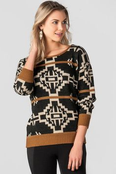 "Neutral colors create a bold print all over the Copperfield Pullover Sweater. Style with your favorite jeans & a pair of boots to finish off the look.<br />%0D%0A<br />%0D%0A- 26"" length from shoulder to hem<br />%0D%0A- 42"" chest<br />%0D%0A- 36"" waist<br />%0D%0A- measured from a size small<br />%0D%0A<br />%0D%0A- 100% Acrylic<br />%0D%0A- Machine Wash<br />%0D%0A- Made in U.S.A."