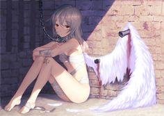Sad anime angel.