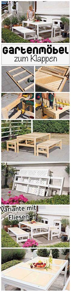 Klapp und weg: Diese Gartengarnitur lässt sich nach Benutzung einfach wieder abbauen. Trotzdem beeindruckt sie durch ihr Aussehen – denn wie ein Klappmöbel sieht sie nicht aus. Klasse: Man kann sogar eine Variante mit Fliesen bauen. Wir zeigen, wie es geht.