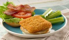 Only four ingredients. INGREDIENTS: 4 Gorton's Fish Sandwich Fillets 4 Hamburger Buns 8 slices Bacon Lettuce if desired Tomato if desired Blt Recipes, Best Seafood Recipes, Wrap Recipes, Fish Recipes, Cooking Recipes, Cooking Tips, Fish Sandwich, Grilled Sandwich, Bacon Sandwich