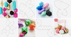 Геометрические фигуры из бумаги покоряют четкостью, даже строгостью своих линий, при этом выглядят очень оригинально, а сделать их весьма просто. Имея лист бумаги, клей-карандаш и несколько свободных минут, можно создать своими руками удивительный декор для дома. Можно превратить их в елочные игрушки или подвесы к люстре: Коробочки для подарков: Или «печенье» с пожеланиями, предсказания…