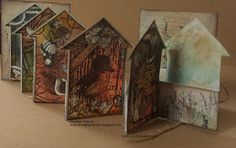 Art Journey Design-team: Houses Cards and Sea House Of Cards, Book Art, Journey, Birds, Houses, Crafts, Painting, Mixed Media, Stamps