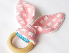 Natural Wooden Teething Ring Soother in Pink by CwtchBugs on Etsy, £8.00