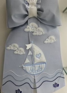 Fiocco di nascita azzurro con barca - Ricameria Marco Polo
