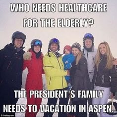 """(Pp) Trumpettes all go skiiing in Aspen plus 100 body guards at public expense. What budget problems? Meals on wheels, health care? Who cares? Not the Trumpettes. - Oh, and this isn't some """"Fake News"""", look it up for yourself. - News about Trump aspen on Twitter"""