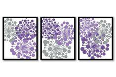 Grey Gray Purple Dandelion Setof 3 Art Printable Abstract Art Flower Burst Print INSTANT DOWNLOAD Wall Decor Modern Kitchen Bathroom Bedroom