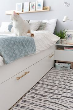 IKEA Bedroom Hacks That Will Blow Your Mind Genius IKEA Bedroom Hacks That Will Blow Your Mind - BRIMNES Bed frame with storage & headboard - white, Lönset - IKEA ikea malm bed hack Prepac King Select Platform Bed with Optional Drawers Cama Malm Ikea, Ikea Nordli, Ikea Headboard, Ikea Bedroom Furniture, Storage Headboard, Bedroom Drawers, Ikea Bedroom Design, Bed Storage, Dorms Decor