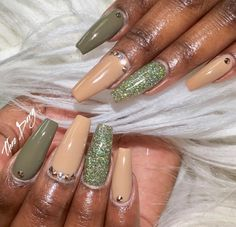 Nude && Olive Green  Pinterest: @Hair,Nails, And Style