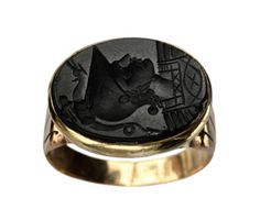 Gimme! Late 1800s Victorian Roman Soldier Intaglio Signet Ring, Carved Glass, 10K Gold : Erie Basin Antiques. $475