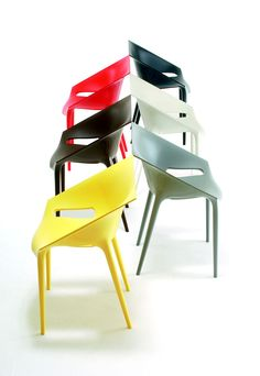 A rainbow of DR Yes chairs by Philippe Starck for Kartell