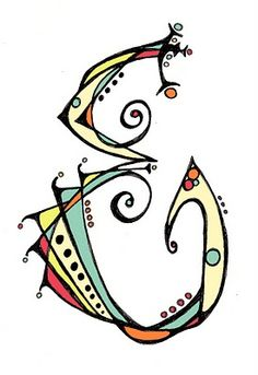 """E"" - hand drawn then colored in PSE"