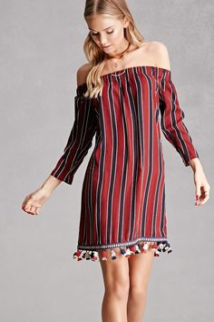 Striped Off-the-Shoulder Dress - Forever 21 Product Code : 2000208511