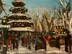 A Snowy Day at the Christmas Market in Munich - original oil