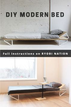Simple instructions for a DIY modern-style bed.