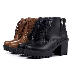 Womens Platform High Chunky Heel Zipper Lace-up Solid Ankle Boot Round Toe Shoes #Unbranded #AnkleBoots #Casual