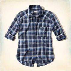 Plaid Split Back Pocket Shirt