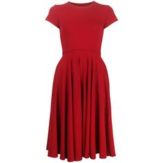 Nadia Tarr T-Shirt Circle Dress (4.540 ARS) ❤ liked on Polyvore featuring dresses, red, rojo, vestidos, red dress, red stretch dress, stretchy dresses, circle dress and stretch dress