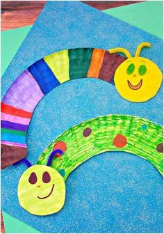 Paper plate caterpillars craft for kids. These would be great for Spring time or for a minibeasts topic #craftsforkids