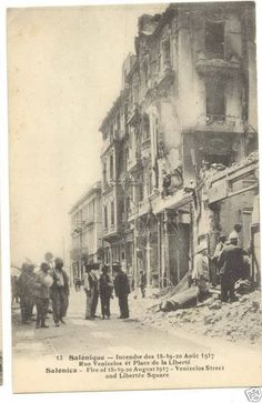 Fire of Thessaloniki Macedonia Greece Salonica 1917 big fire Venizelos Street Macedonia Greece, Athens Greece, Greek Independence, Vale Do Anhangabaú, Greece Photography, The Great Fire, Greek History, Thessaloniki, Sao Paulo