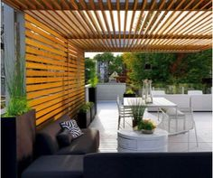 Amazing Modern Pergola Patio Ideas for Minimalist House. Many good homes of classical, modern, and minimalist designs add a modern pergola patio or canopy to beautify the home. Outdoor Rooms, Outdoor Living, Outdoor Decor, Outdoor Sheds, Terrasse Design, Gazebos, Arbors, Shade Structure, Wood Structure