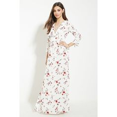 Forever 21 Women's  High-Slit Floral Maxi Dress ($30) ❤ liked on Polyvore featuring dresses, maxi dress, three quarter sleeve dress, side slit maxi dress, side slit dress and floral dress