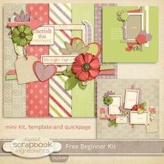 Digital Scrapbook Ingredients-Free beginner scrapbook kit