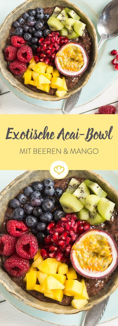 Der letzte Sommerurlaub ist schon Monate her? Dann ist diese exotische Frühstü… The last summer vacation has been months ago? Then this exotic breakfast with berries, mango and kiwi is just the thing for you. Smoothie Bowl, Mango Smoothie Healthy, Mango Smoothies, Best Smoothie Recipes, Breakfast Dessert, Low Carb Breakfast, Breakfast Smoothies, Breakfast Bowls, Kiwi