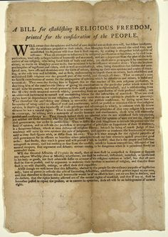 Encyclopedia Virginia: Virginia Statute for Establishing Religious Freedom (1786) was drafted by Thomas Jefferson and adopted by Gen. Assembly 1-16-1786