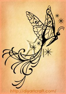 A in butterfly tattoo