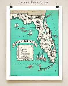 FLORIDA PICTURE MAP - size  color choices - personalize it - vintage coastal map art - fun wedding or housewarming gift - beach house art