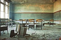 The Blue Room - 8x12 Fine Art Photography Print - abandoned school classroom urban decay Detroit Michigan