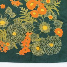 Dark Green Cotton Print Tablecloth with Orange Flowers by LinensandThings, $24.00