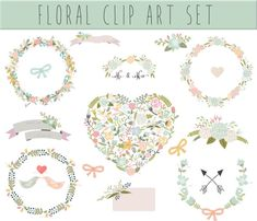 Wedding Floral clipart Digital Wreath Floral by Thelittleclouddd