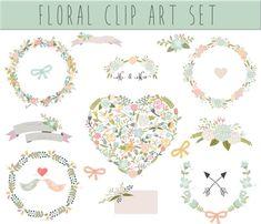 Wedding Floral clipart, Digital Wreath, Floral Frames, Flowers, Arrows Clip art, vector wedding clip art, Ribbons, Banners, Heart on Etsy, 4,99$