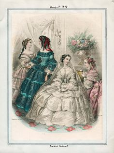Ladies' Cabinet, August 1856.  LAPL Visual Collections.  Civil War Era Fashion Plate  Wedding, bridal
